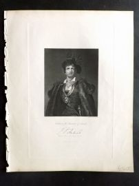 After Lawrence 1846 Portrait Print John Philip Kemble in the Character of Hamlet